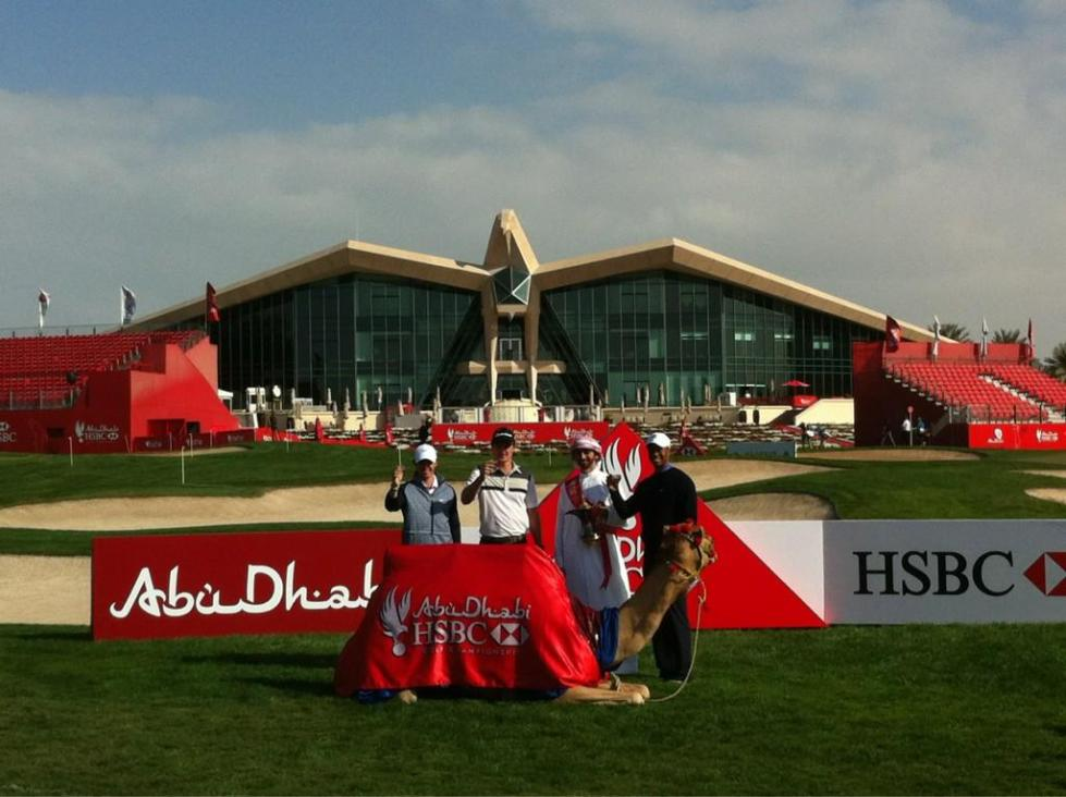 Rory McIlroy, Justin Rose and Tiger Woods in Abu Dhabi.