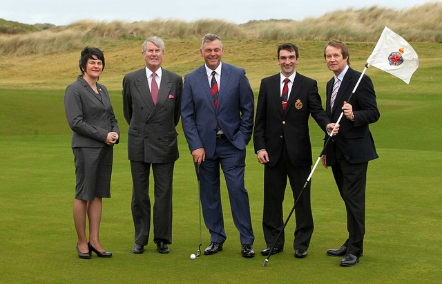 Darren Clarke with the committee announcing the 2012 Irish Open at Portrush (Courtes: DUP Photos)