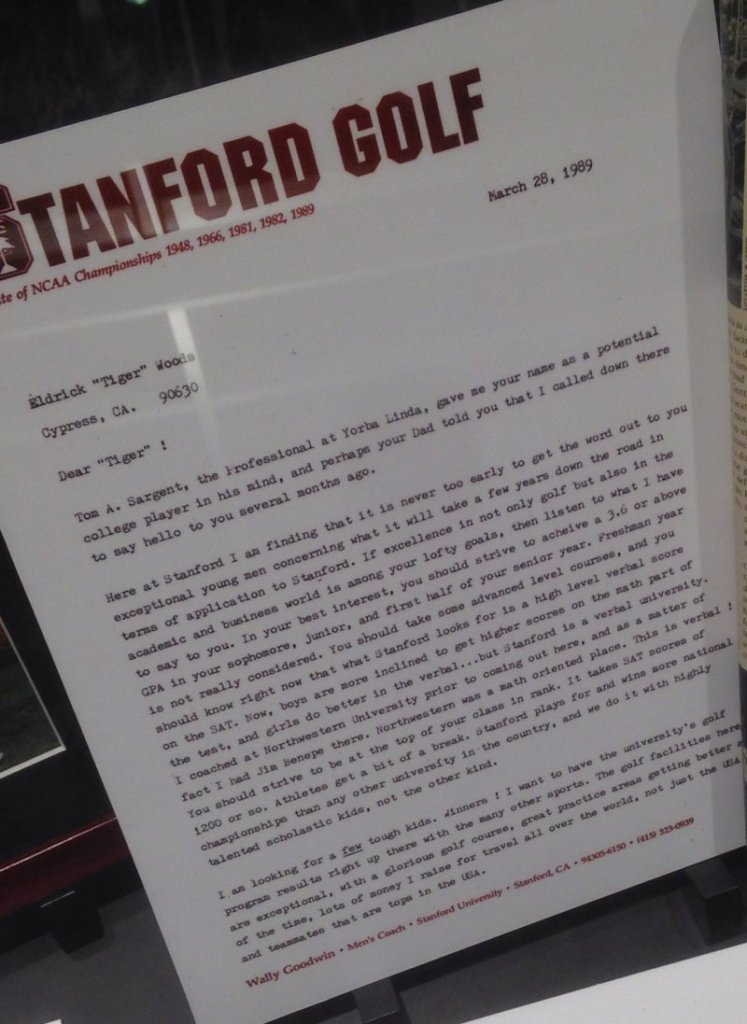Tiger Woods' recruitment letter from Stanford. (Courtesy: Jay Yarow)