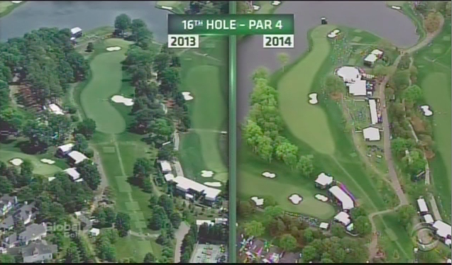 Nice look at the changes made the par-4 16th at Quail Hollow.