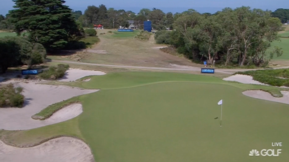 The par-3 16th at Royal Melbourne's composite course. Love the bunkering.
