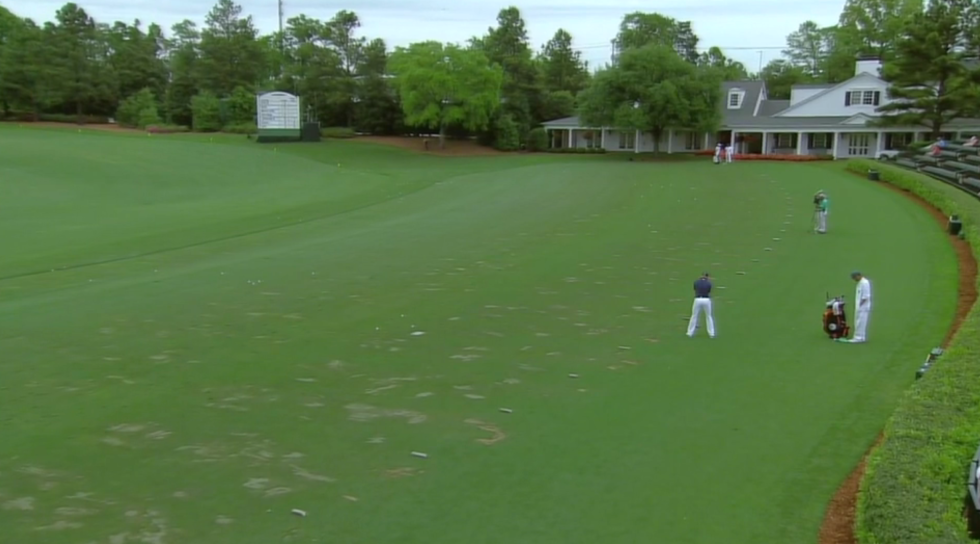 Jordan Spieth, alone on the range.