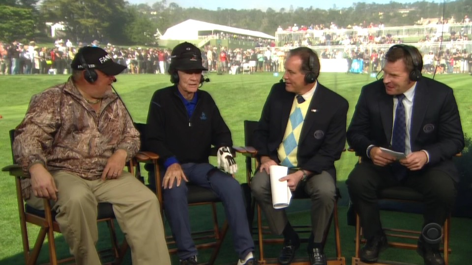 Jim Nantz, Nick Faldo, Larry the Cable Guy and Gary Mule Deer.